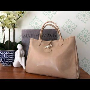 Beige leather Longchamp Roseau Bag